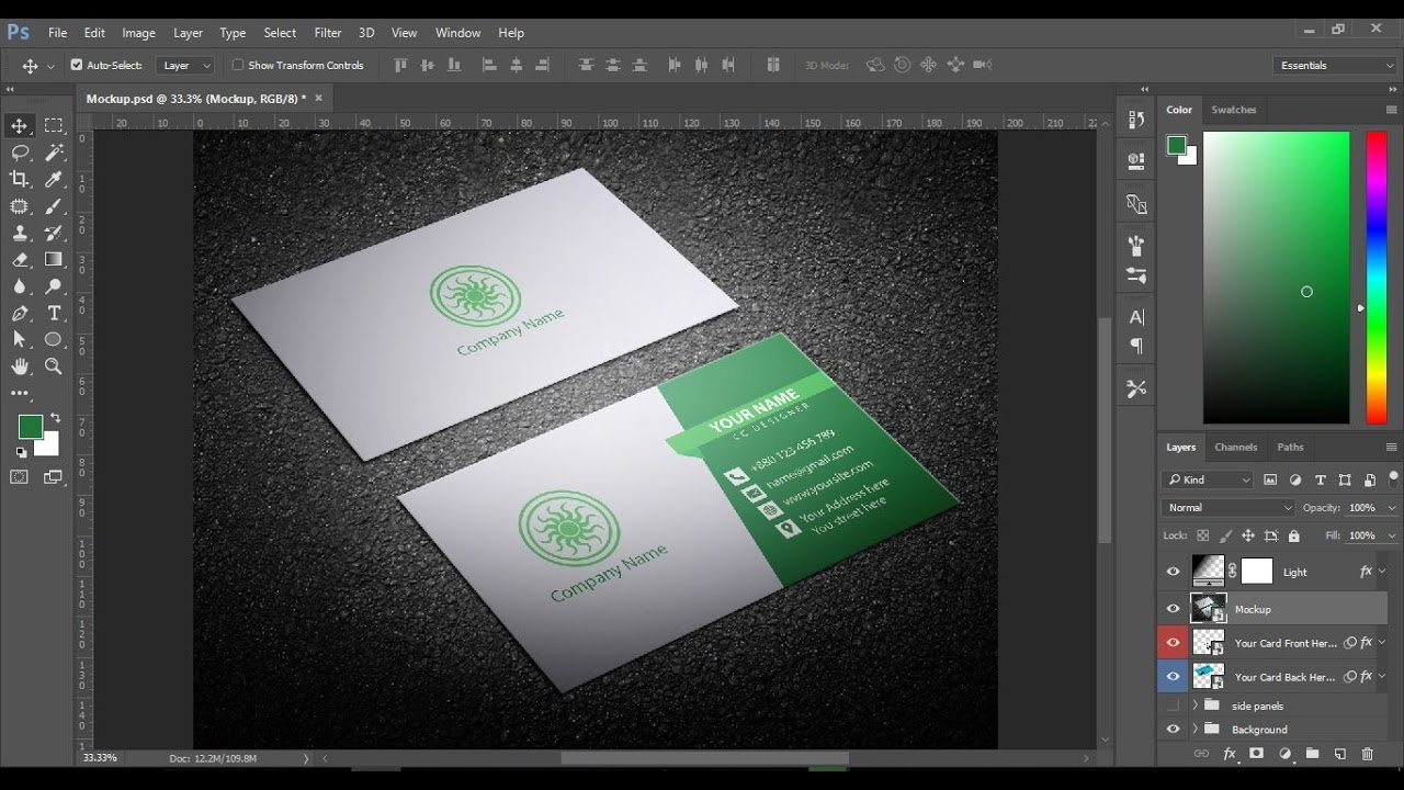 How to make Business Card in Photoshop CC - YouTube
