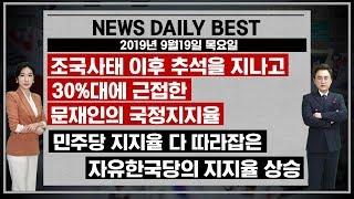 """9월19일 뉴스데일리베스트 """"조국사태 이후의 문재인과 한국당 지지율의 놀라운 변화"""""""