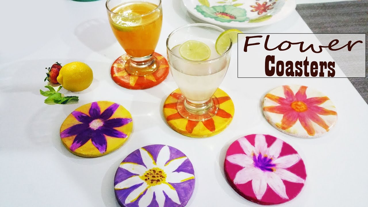 Plaster Of Paris Craft Flower Coaster Youtube
