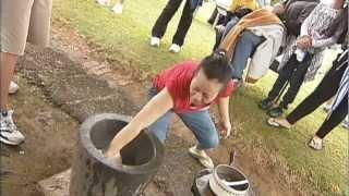 Mochi pounding for New Years in Wailea Village, Hawaii