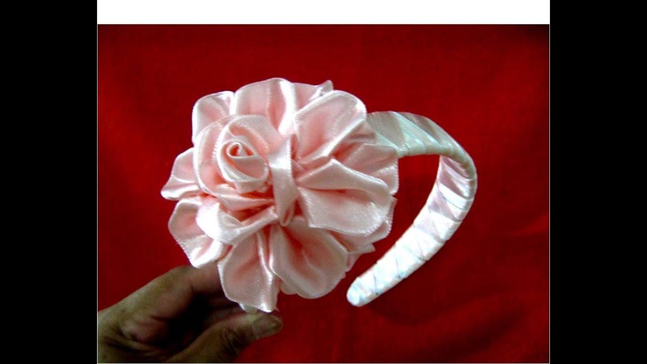 Flores rosas diademas tricolores trenzadas en cintas para - Material para hacer diademas ...