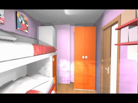 Dormitorio juvenil muy aprovechado y dise o muy italiano arredo mov youtube - Diseno dormitorio juvenil ...