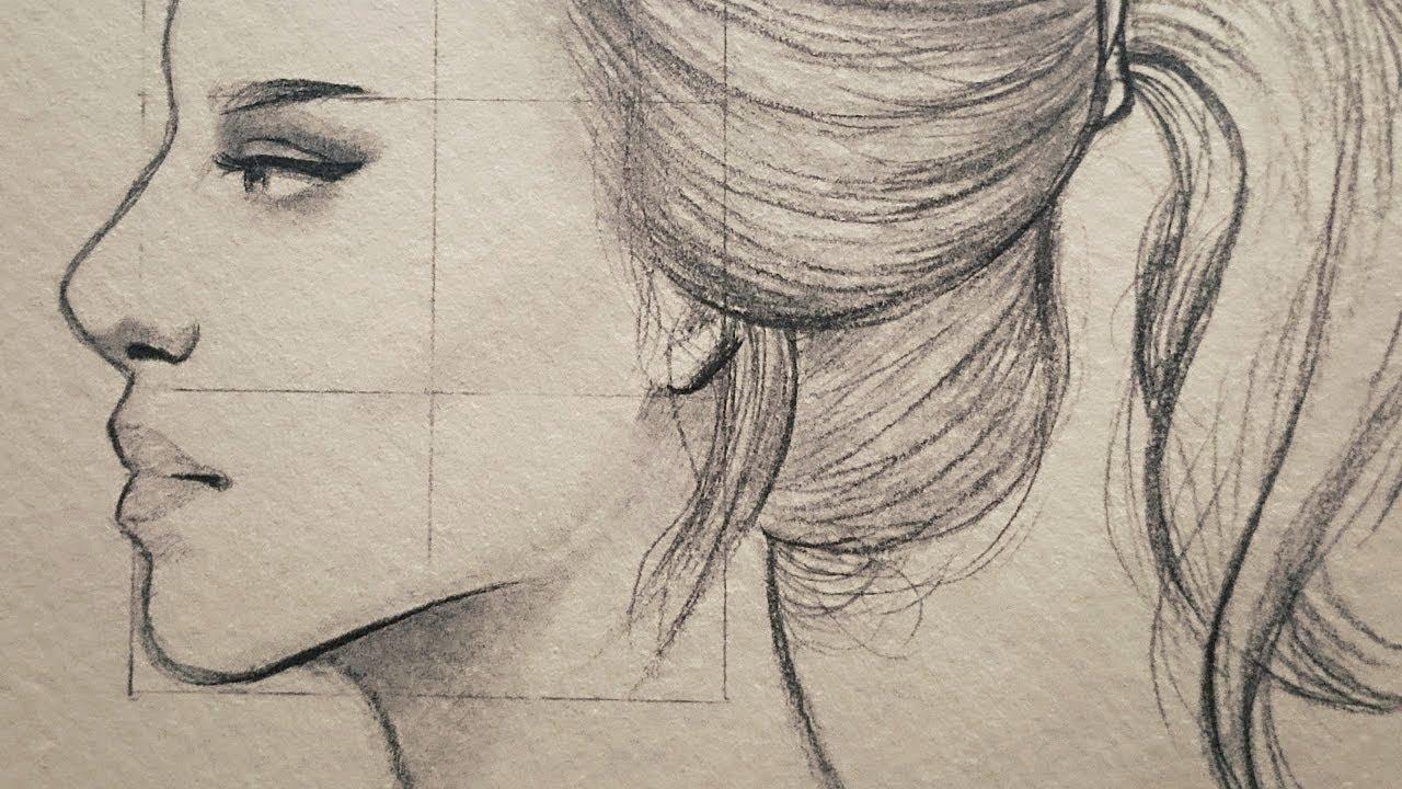 تعلم الرسم بالرصاص شرح نسب وجه الانسان من الجانب في مستوى