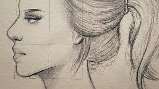 تعليم الرسم بالرصاص : شرح نسب وجه الانسان من الجانب ~ في مستوى النظر