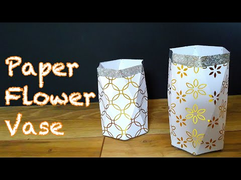 How to make beautiful paper flower vase - paper craft idea easy - art and craft with paper