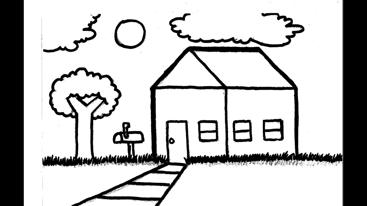 Simple House Landscape Speed Drawing Youtube