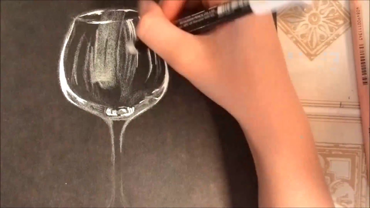 How To Draw A Wine Glass Youtube