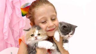 Nastya has two little kittens