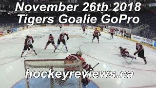 November 26th Tigers 2018 , 1st Game with Bauer Supreme 1S Blocker Hockey Goalie GoPro