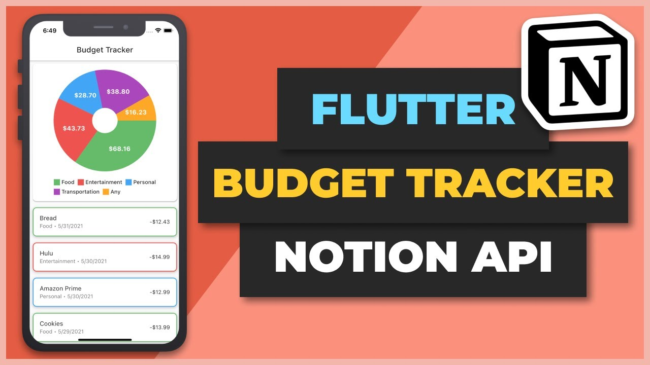 Flutter Budget Tracker with Notion API Tutorial   Apps From Scratch