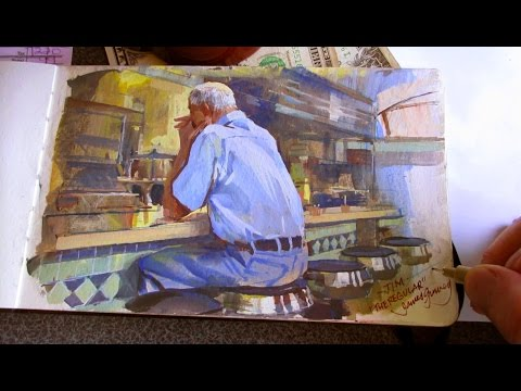 James Gurney paints a guy in a diner