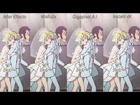 Digital Based Upscale Comparison - Animation (After Effects / Gigapixel AI / Waifu2x /etc.)