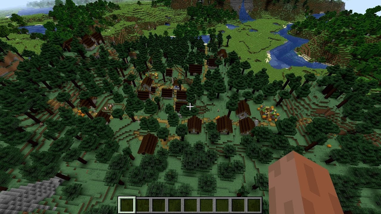 Minecraft 8.88.8 Seed 8: Biggest taiga village ever! (8 buildings)