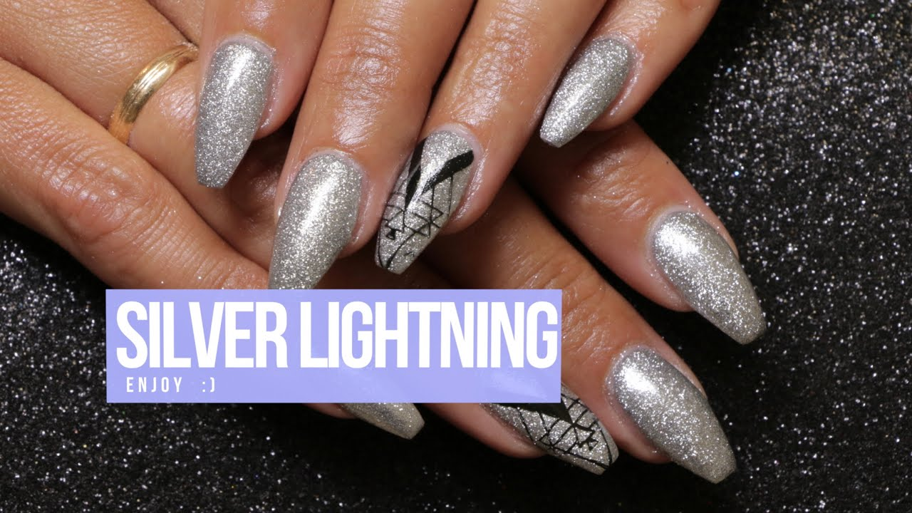 acrylic nail design silver lightning