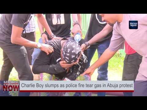Charlie Boy slumps as police fire tear gas in Abuja protest (Nigerian News)