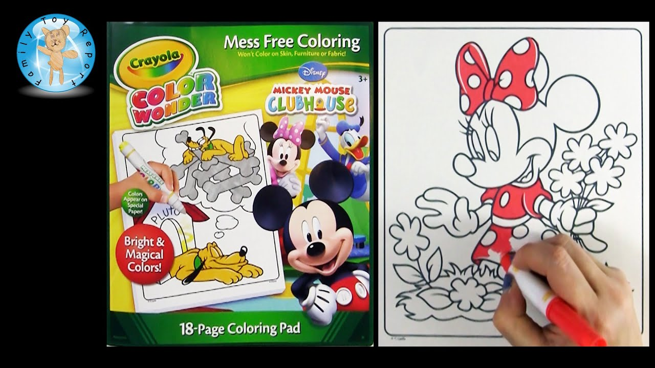 crayola color wonder mickey mouse clubhouse coloring book minnie mouse flowers family toy report youtube