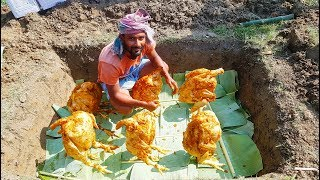Build Underground Oven & Cooking Grilled Chicken - Unique Food Prepared By Village Boys