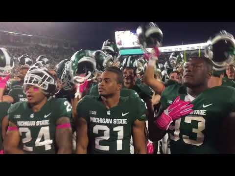 Michigan State players sing the Spartan fight song 'Victory for MSU'