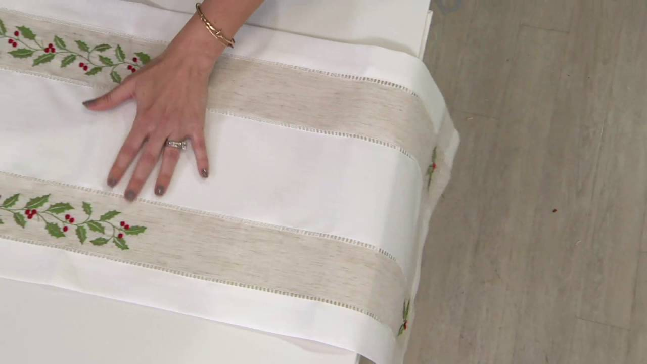 Charles Gallen 54 X 14 Table Runner With Embroidery On Qvc