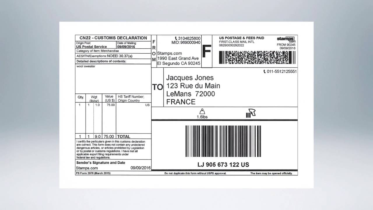 Stamps com Online - How to Ship an International Package