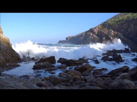 1 hour video of ocean waves breaking on a rocky beach at sunrise - HD 1080P