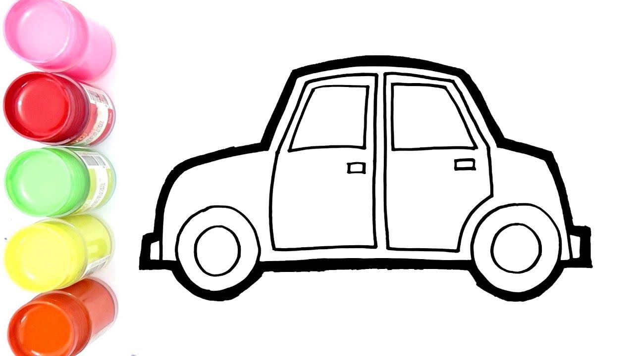 Cara Menggambar Dan Mewarnai Mobil Baru Untuk Anak