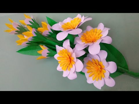 DIY PAPER FLOWER: How to Make Stick Paper Flower Home Decoration Idea!!!