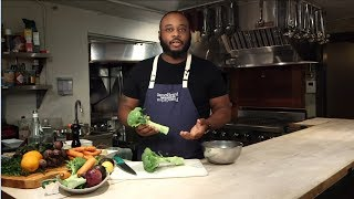 Chef Kwame Williams prepares zero-waste broccoli coleslaw