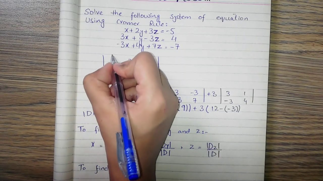 Download Cramer's Rule Solved Example - 3x3 matrix