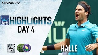 Highlights: Federer Saves 2 M.P. In Tense Paire Thriller In Halle 2018