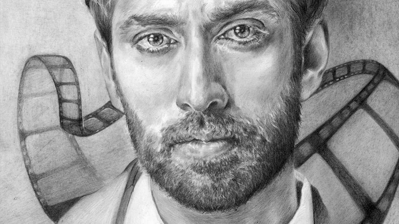 Creating a portrait of my friend nakuul mehta drawing process sketch art hd video