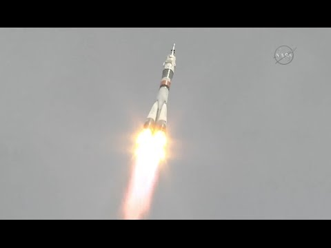 Soyuz Rocket lifts off with Russian-American Crew Duo (+ one empty seat)