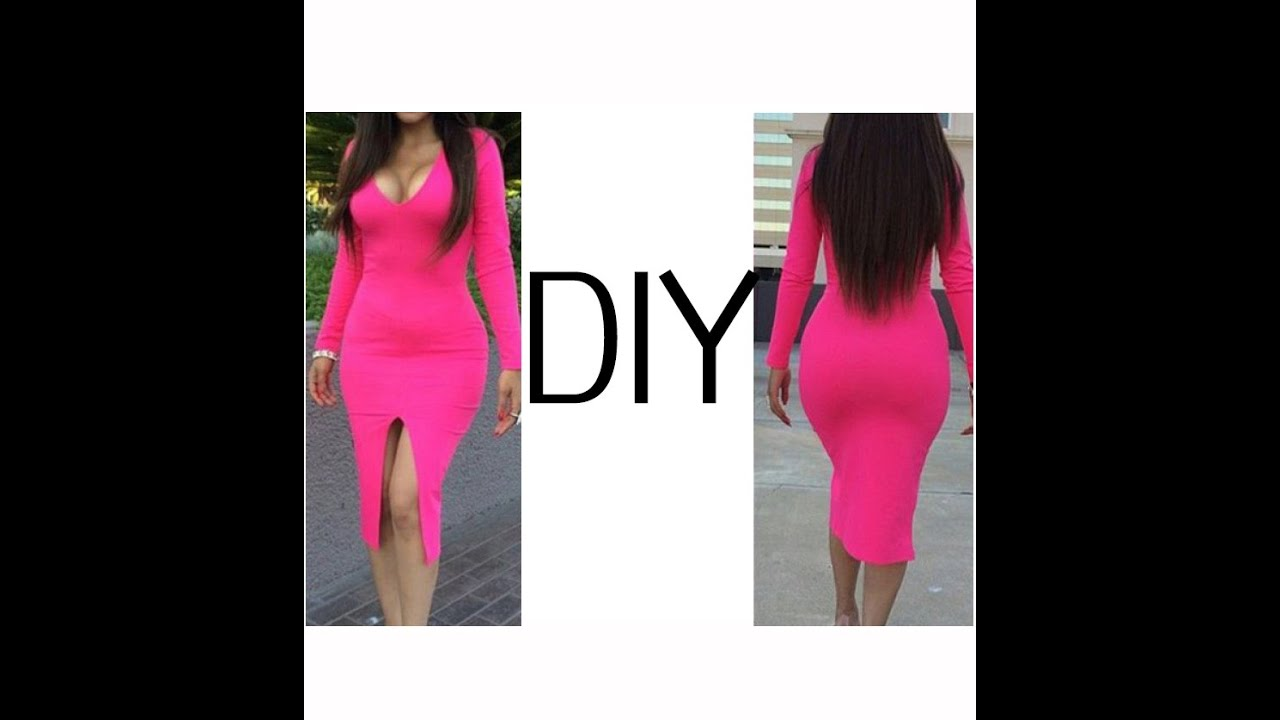 Diy V Neck Pencil Dress With Front Split Easy Sewing