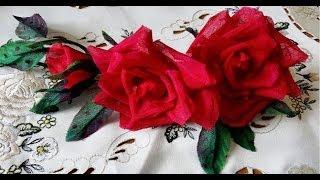 Три розы из ткани без инструментов