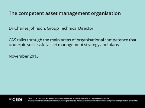 The Competent Asset Management Organisation - Dr Charles Johnson