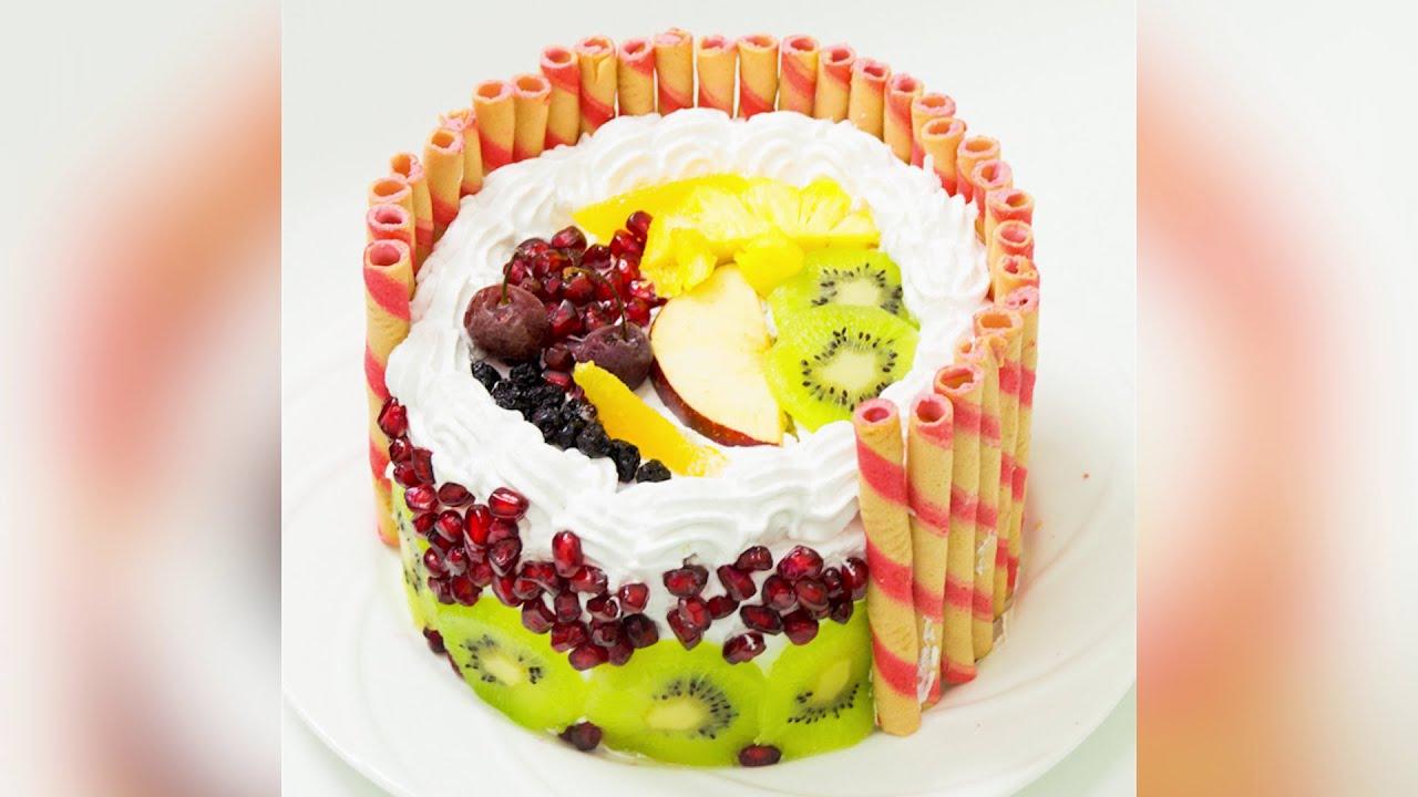 Eggless Fresh Fruit Cake Fruit Pastry Recipe