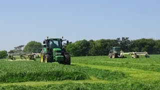 Silage 2018 - Mowing Grass with 2 John Deeres & Claas Mowers plus AutoSwathing