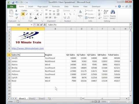 Excel 2010 Tutorial 2: Create a basic spreadsheet - YouTube