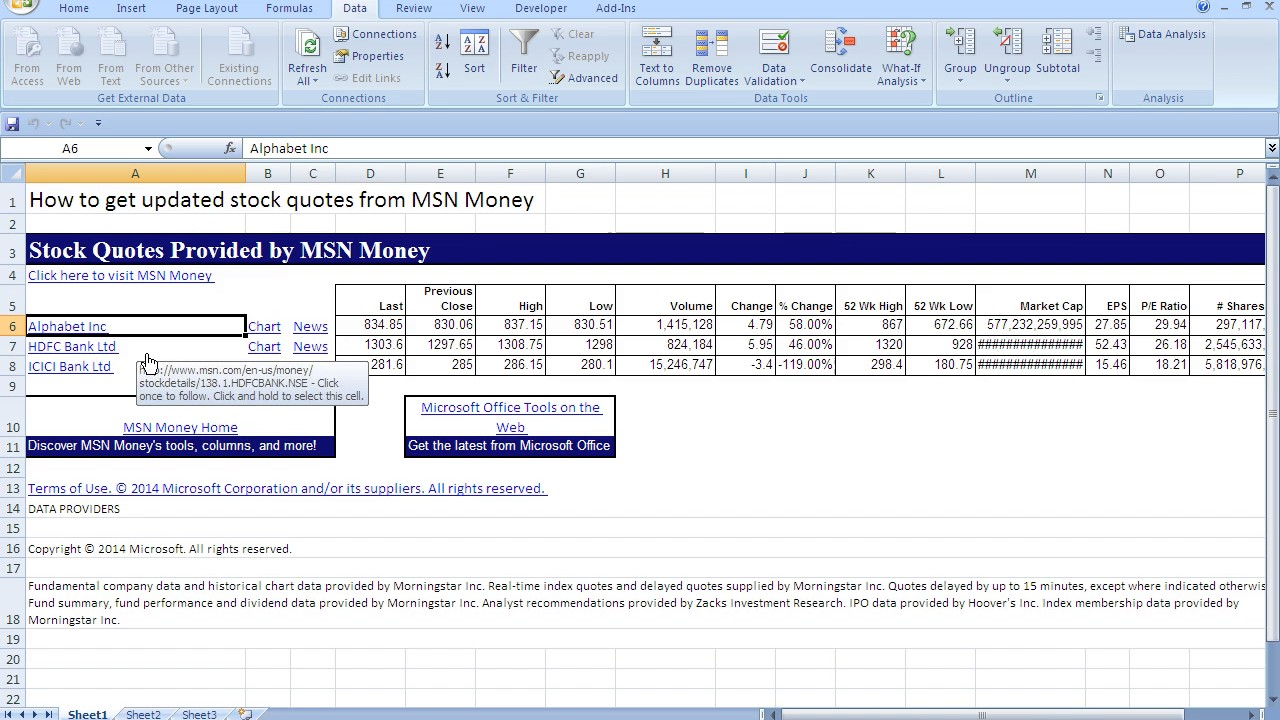 Msn Stock Quotes How To Get Live Stock Quotes In Excelspreadsheet Simple  Youtube