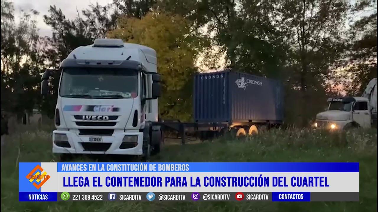Llegó un contenedor para comenzar la construcción del cuartel de Bomberos en Villa Garibaldi