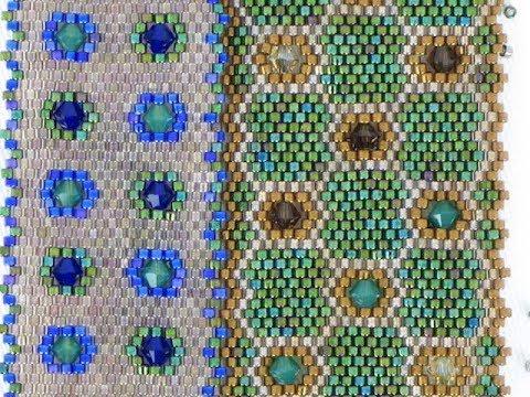 Bead Weaving Tutorial: Adding 4mm Bicones into Flat Peyote Stitch