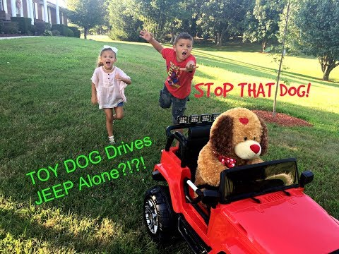 AmAzInG TOY Puppy Dog Drives Jeep Ride On!! All Alone?!?!