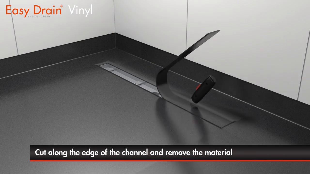 Linear shower drain installation | Easy Drain Vinyl - YouTube