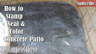 Gambar cover How to Color Concrete, Stamp and Seal a Great Beginner Slab  DIY (Royal Ashler Slate)