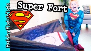 3 Little Superman's Hiding in Fort From Big Bad Batman! Fortsy Behind the Scenes HobbyKidsVids