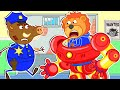Lion Family   play at the learning center for kids #2. Iron Robot   Cartoon for Kids