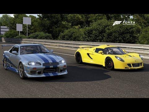 Forza 6 Drag race: F&F Skyline GTR R34 (Tuned) vs Hennessey Venom GT