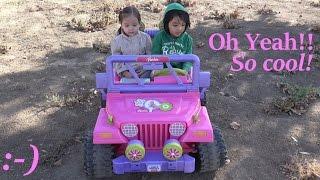 Barbie Toys: Ride-On Power Wheels Test Drive by Hulyan & Maya :-)