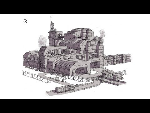 Sci Fi Metal Refinery Drawing - 15x Timelapse