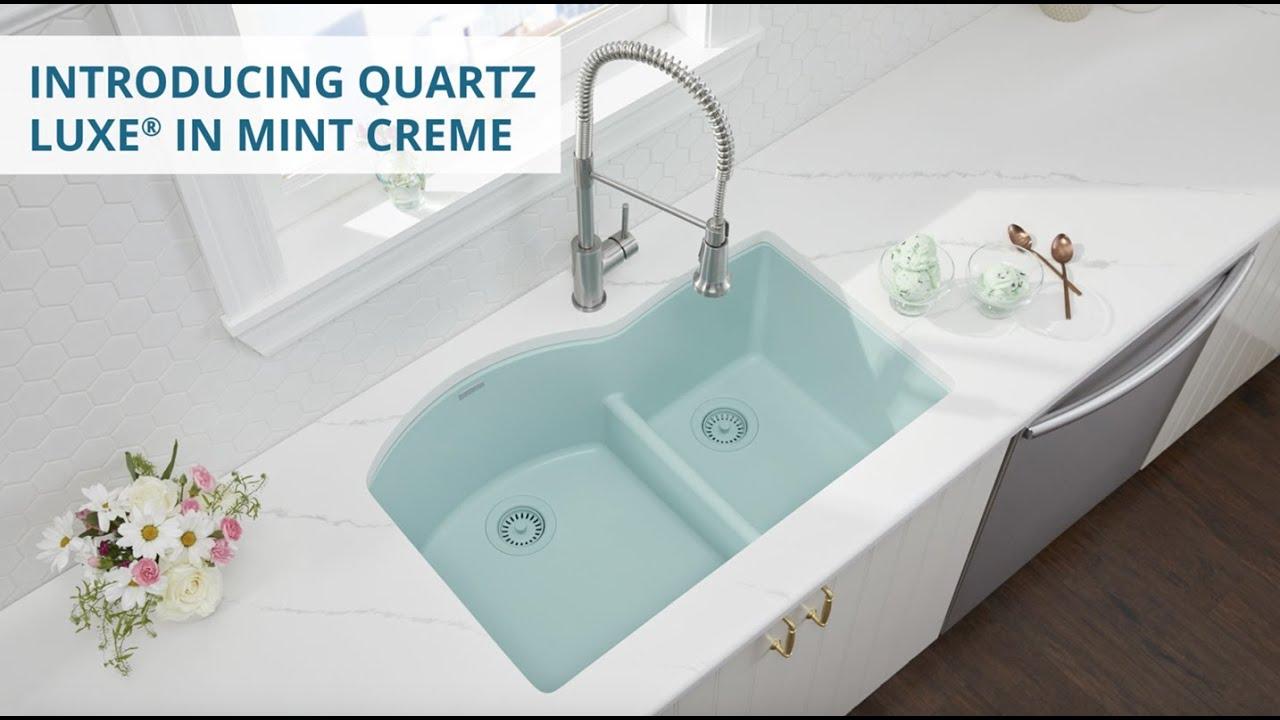 introducing elkay quartz luxe sink in mint creme